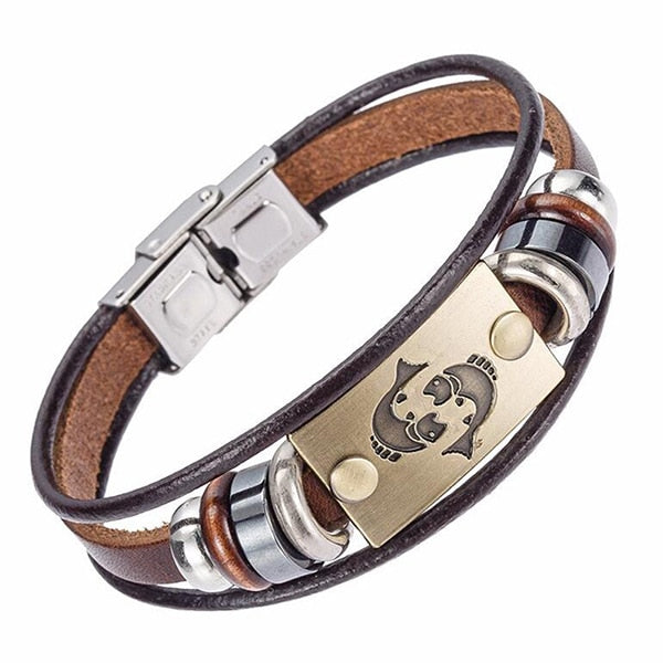 Zodiac Sign Leather Bracelet With Stainless Steel Clasp unique jewelry design GemCreature
