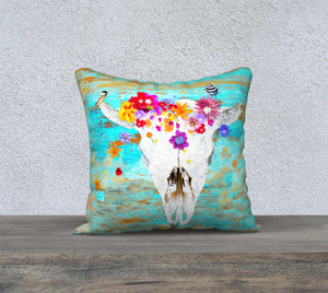 'Frida' Bison Skull pillow cover - square