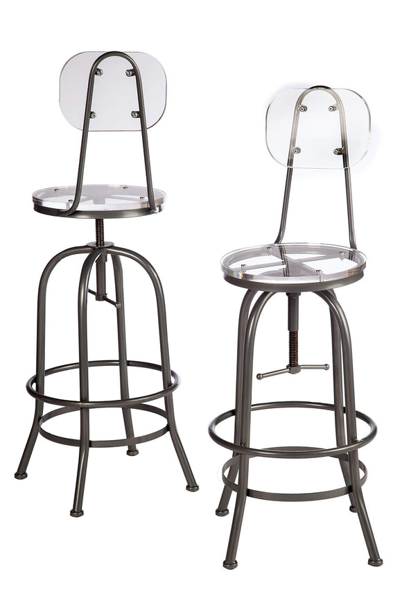 Statements by J HC170029-30P Acrylic Adjustable Counter-Bar Chair, 43.5 Inch Tall, Silver