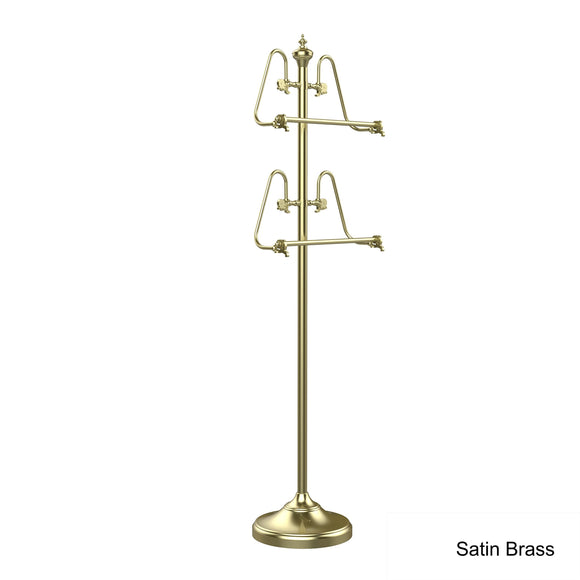 Allied Brass TS-6-SN 49-Inch Towel Stand with 2 17-Inch Bars, Satin Nickel
