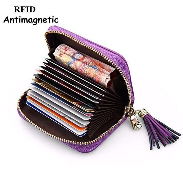 RFID Antimagnetic Genuine Leather Cowhide 13 card slots Card Holder
