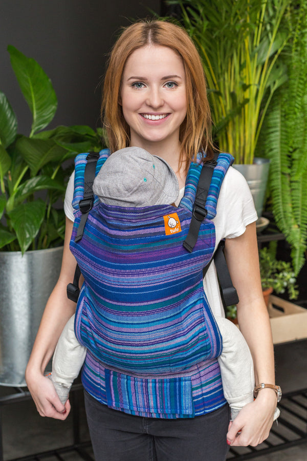 Half Toddler Wrap Conversion Carrier - Myth Azul Capitan Weft Herringbone Weave - Baby Tula