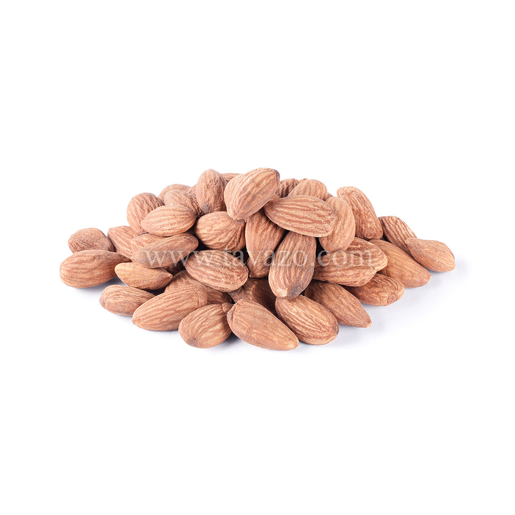 Roasted and unsalted shelled almonds from California.