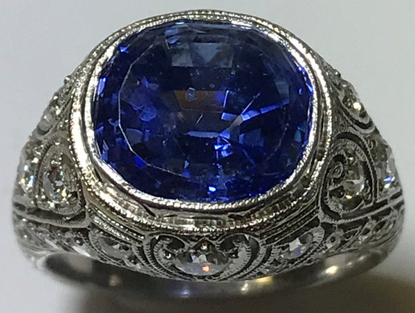 Platinum Art Deco GIA Certified Sapphire and Diamond Ring