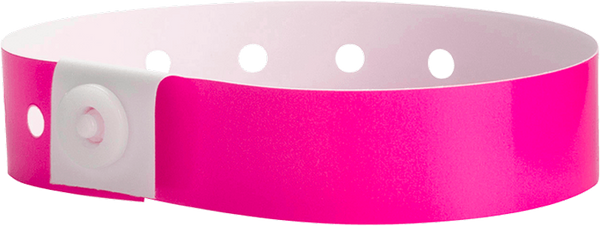 A Soft Comfort L-Shape Snapped Solid Neon Pink wristband
