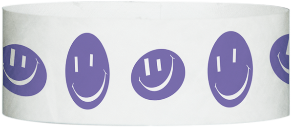 "A Tyvek® 1"" X 10"" Happy Face Purple wristband"