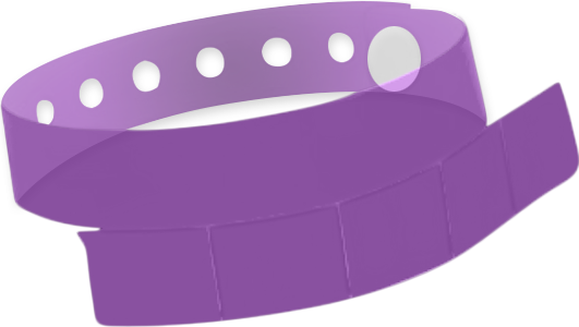 "A Vinyl 1 1/4"" x 9 1/4"" Slim 5-Stub Snapped Solid Edge Glow Purple wristband"