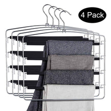 DOIOWN Pants Hangers Slacks Hangers Space Saving Non Slip Stainless Steel Clothes Hangers Closet Organizer for Pants Jeans Trousers Scarf (4-Pack,Large Size 17.1''High x 15.9''Width)