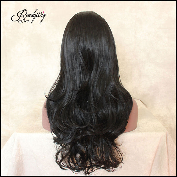 Lace Front Wig  Long wavy Synthetic Hair Wigs for Women Half Hand Tied 130% Density wigs with Heat Resistant Fiber