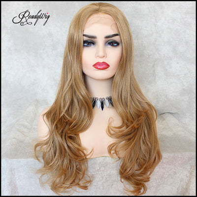Honey Blonde Body Wave Synthetic Lace Front Wig