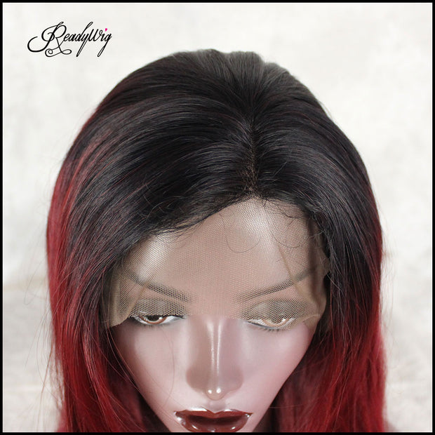 red lace front wig for black women, straight hair wig