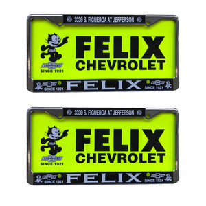 Felix Chevrolet Retro Metal License Plate Set of 2 Frames and Inserts