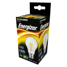 Load image into Gallery viewer, Energizer LED Filament 4 Watt 40 Watt Equivalent BC glass light bulb box.