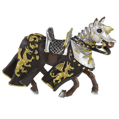 Medieval Figures - Horse With Black Robe And Gold Dragon Figure Safari Ltd