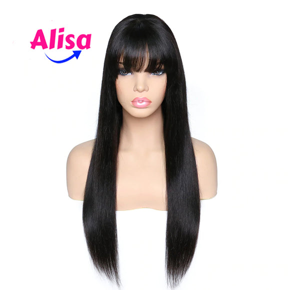 Straight Hair With Bang Full Lace Wigs