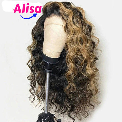 Honey Blonde Ombre Loose Wave Lace Frontal Wigs