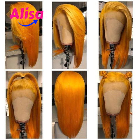 Orange Color Straight Hair 13x3 Lace Frontal Wigs