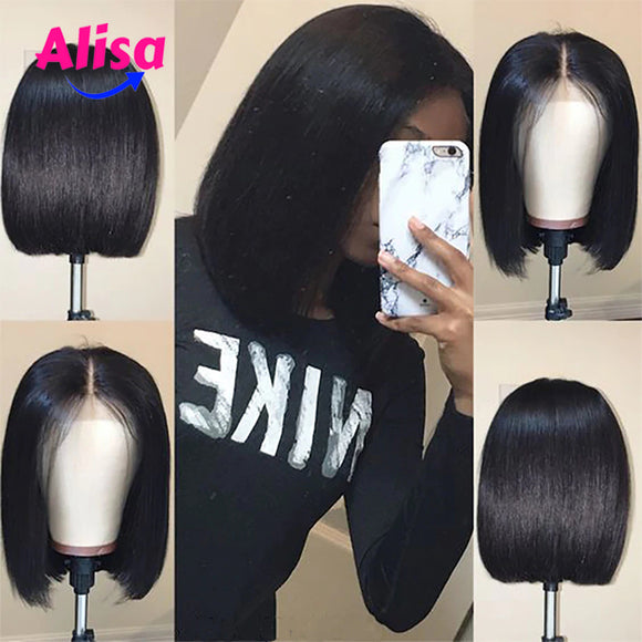 Short Straight Full Lace Wigs Pre Plucked Natural Hairline