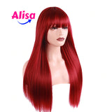 Red Color  Straight Hair With Bang 13x4 Lace Frontal Wigs