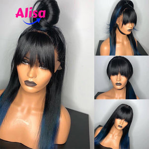 Ombre Blue Straight hair  Full Lace Wigs