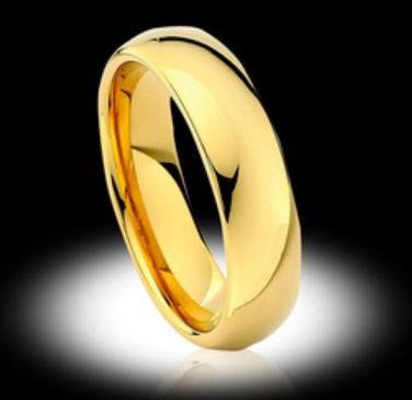 Thick Gold Mens Tungsten Wedding Ring - Vintagetears Jewellery Design