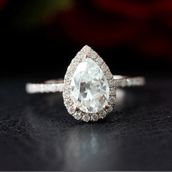 Pear Cut Halo Engagement Ring Moissanite - Vintagetears Jewellery Design