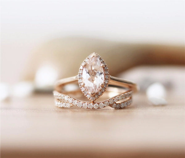 Marquise Halo Engagement Ring Moissanite - Vintagetears Jewellery Design