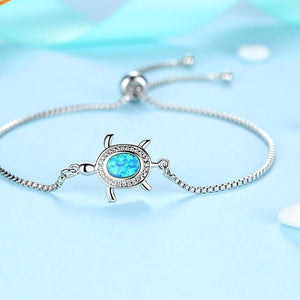 'Gorgeous' Blue Opal Sea Turtle Bracelet In Silver Plate With  Cubic Zirconia Crystal Stone