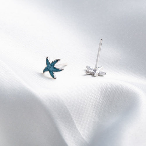 'Brilliant Blue Starfish' Stud Earrings In Genuine Sterling Silver With Cubic Zirconia Stones!