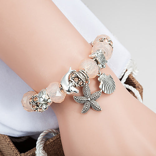 'Newly Available!' Lovely Glass Beads With Antique Silver Starfish And Shell Charms Bracelet!
