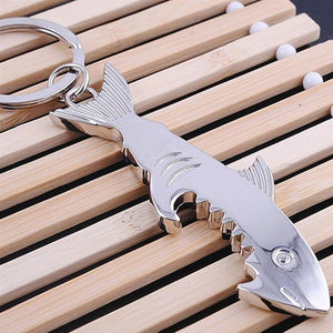 Creative Brushed Silver Plated Shark Key Ring Bottle Opener