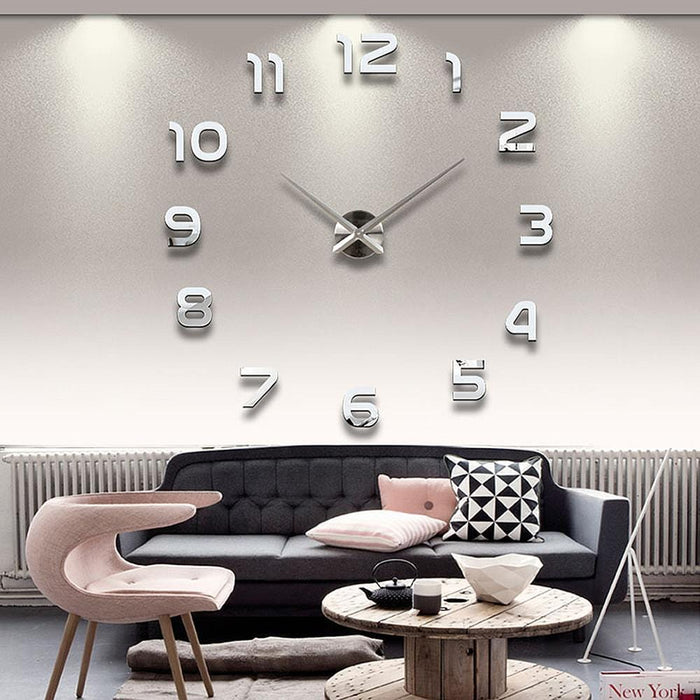 Modern 3D Wall Clock with Mirror Numbers Stickers for Home Office Decorations exxab.com