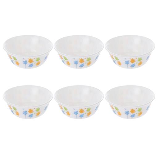 Luminarc Essence March set of 6 round bowl with blue and yellow tree leaves printed exxab.com