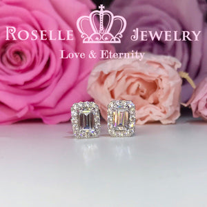 Detachable Emerald Cut Stud Earrings - EE1