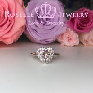 Heart Shape Halo Engagement Ring - TH1