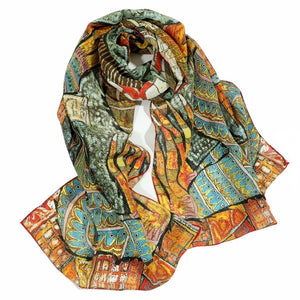 Dankeyisis Oil Painting 100% Silk Scarfs