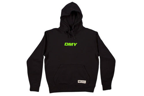 DMY Neon Green Embroidered Logo Black Hoodie