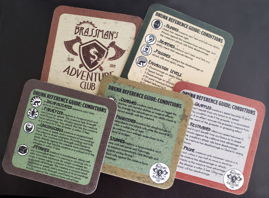 Drunk Reference Guide Coasters - 5E Conditions