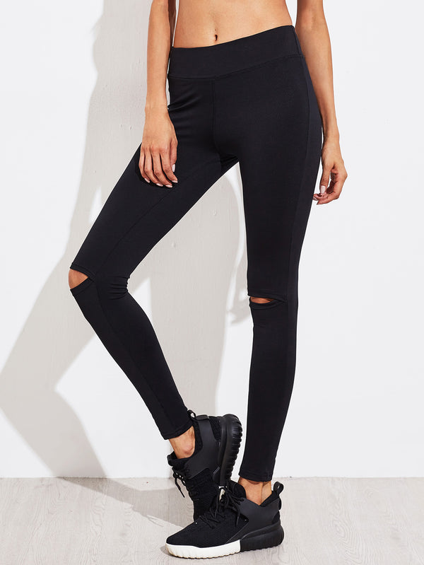 Drill Knee Slit Leggings