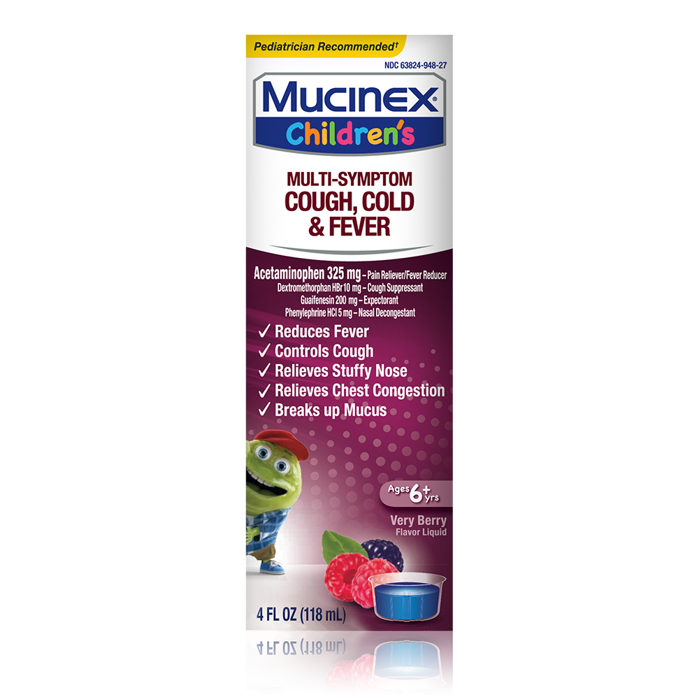 Children's Mucinex® Multi-Symptom Cold & Fever Liquid, Very Berry, 4oz. (Packaging/Flavor May Vary)