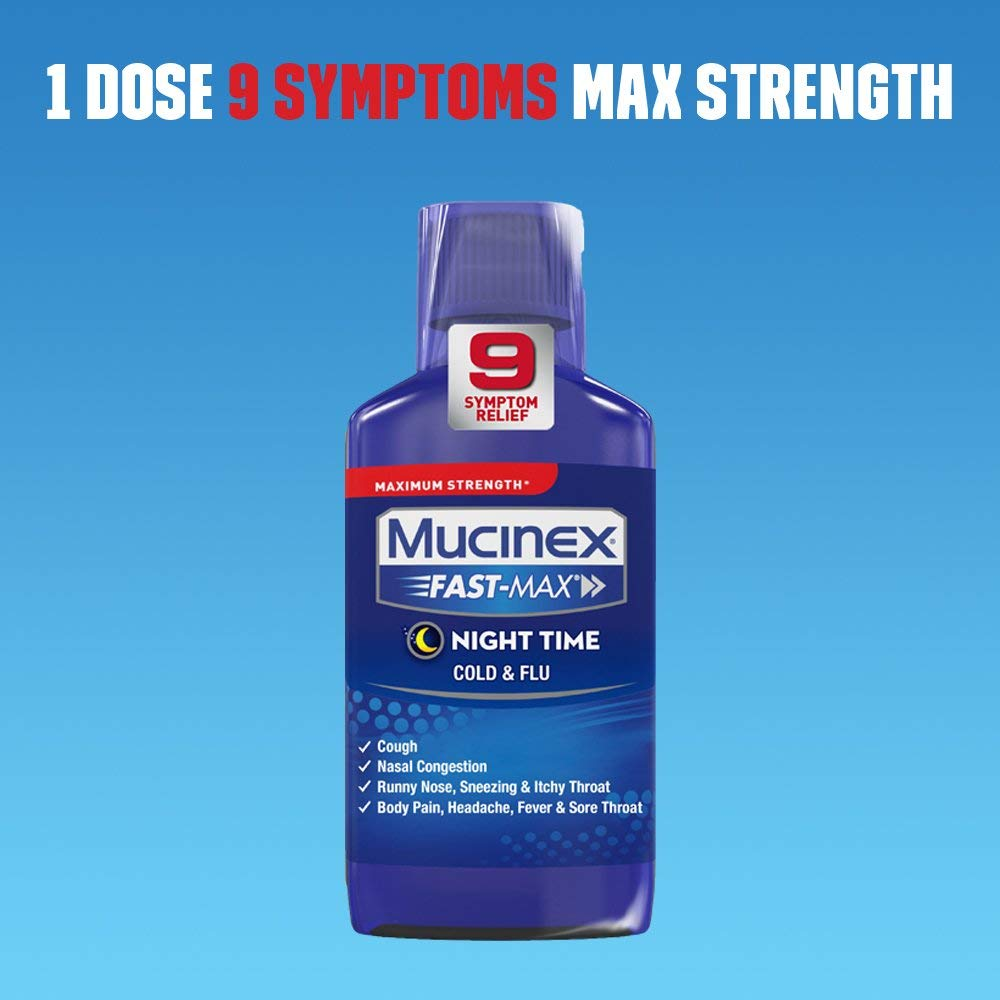 Mucinex Fast-Max Adult Nighttime Cold and Flu Liquid, 6 oz & Fast-Max Adult Severe Congestion and Cough Liquid 9 oz, 1 ea