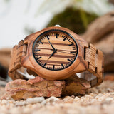 Hand-Crafted Zebra Wood Watch For Men