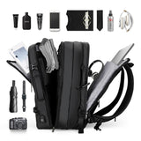 "17"" Expandable Travel Backpack With USB For Men"