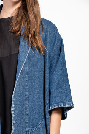 Pollux Distressed Denim Open Kimono Coat