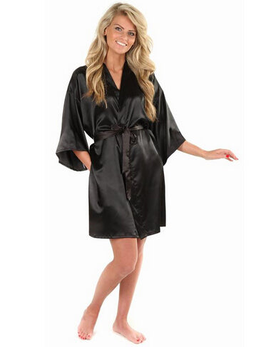 New Black Chinese Women's Faux Silk Robe Bath Gown