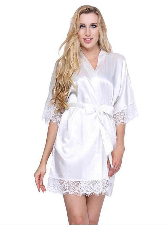 Sexy Wedding Dressing Gown Women Short Satin Bride Robe Lace