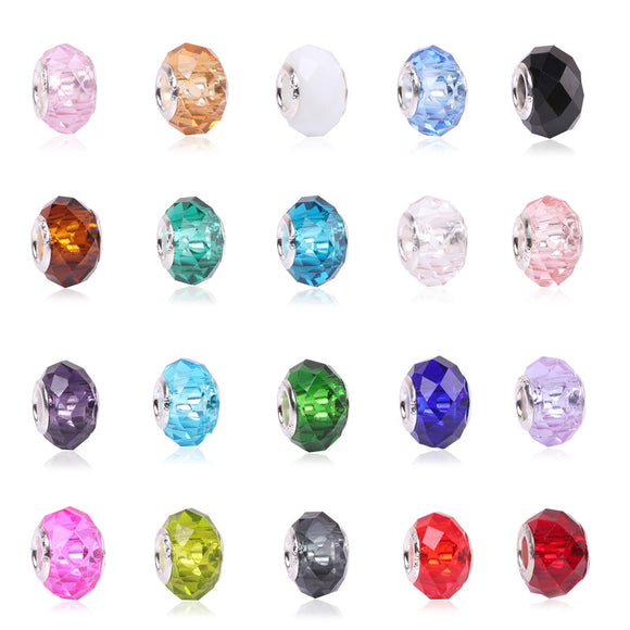 Colorful Big Crystal Facets Beads Fit Pandora Bracelet