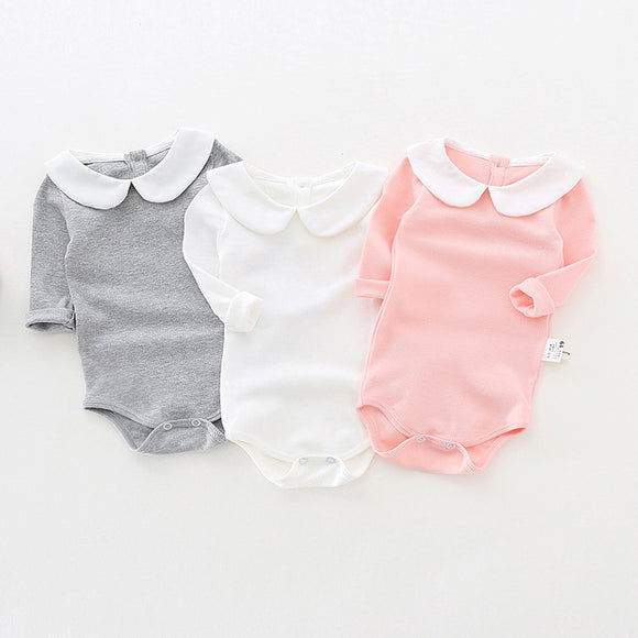 Cute Newborn Baby Girl Clothing Long Sleeve Cotton Solid Baby Rompers