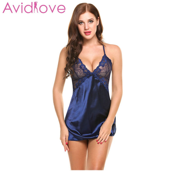 Avidlove Sexy Nightgown Lingerie Fashion Patchwork Nightdress