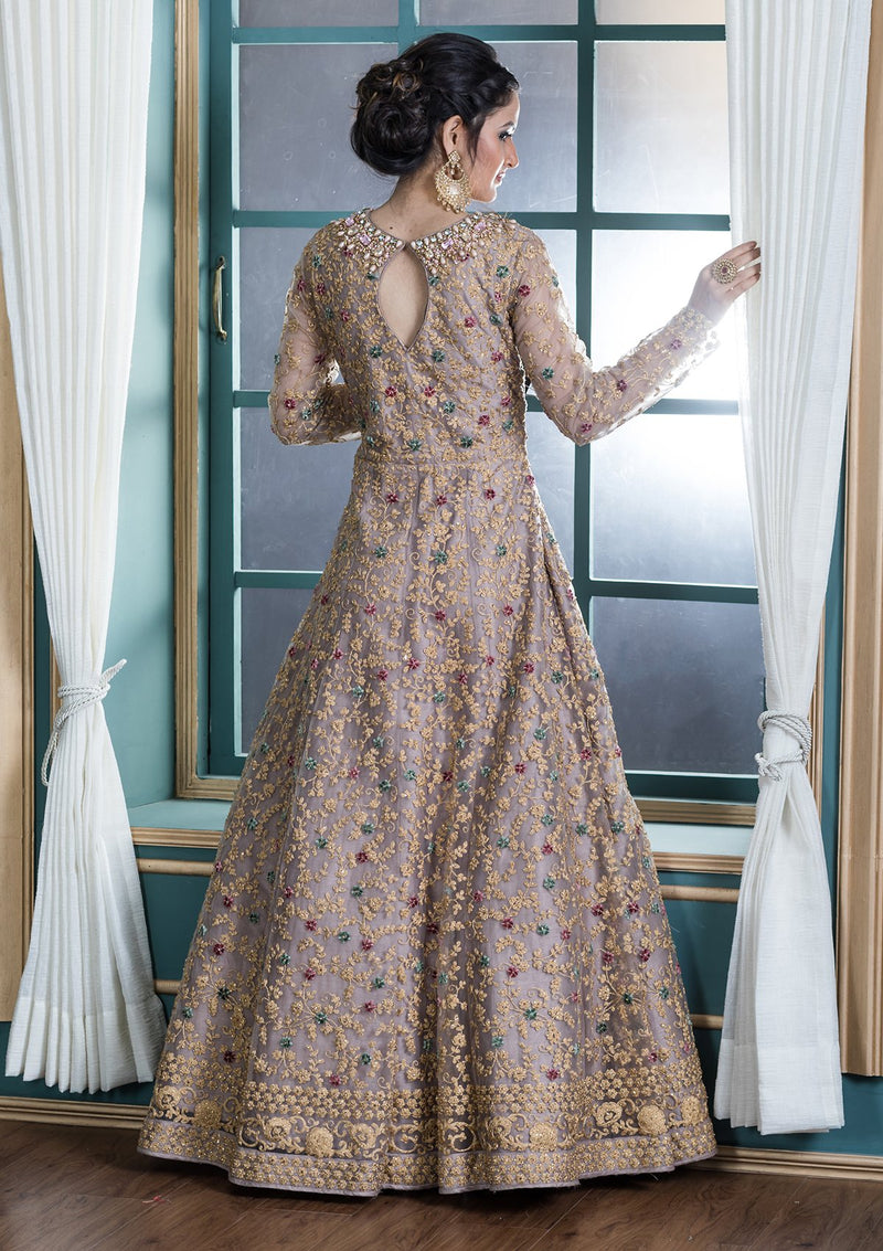 Beige Stonework Net Evening Designer Gown